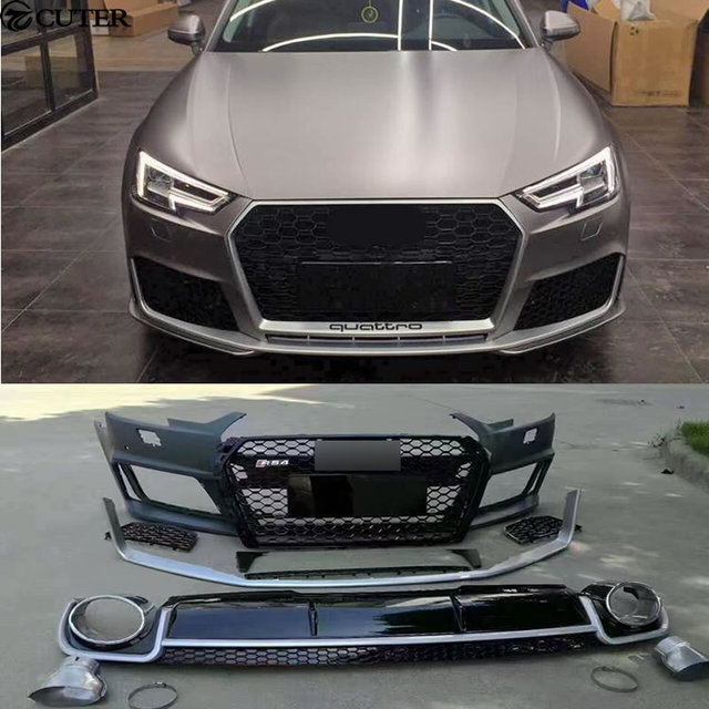 A4 RS4 Car Body Kit PP Auto Front Bumper Racing Grills Rear Diffuser  Exhaust Pipes For