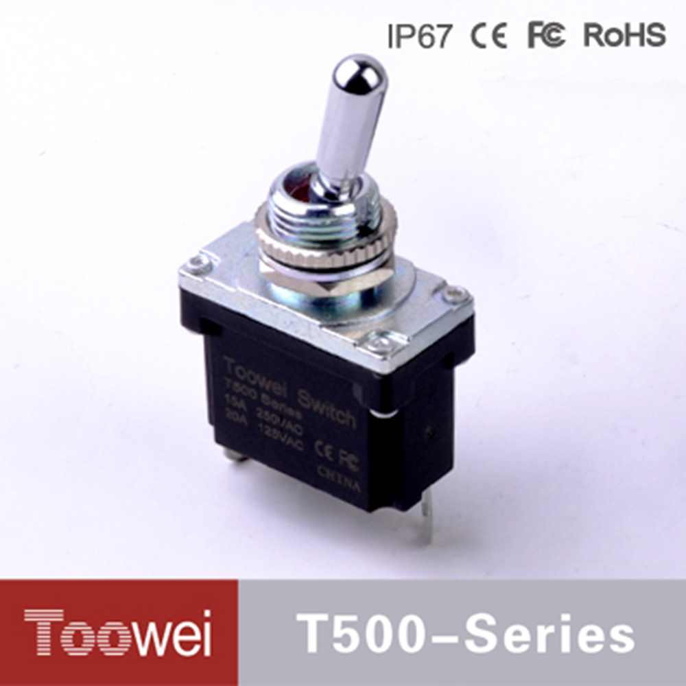 T501FU T500 series (ON)-OFF waterproof toggle swtich with solder terminals on off 2pins 2 position reset toggle switch for cars