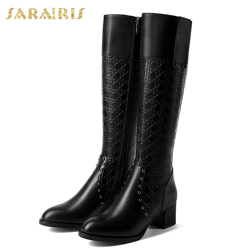 SARAIRIS 2018 Cow Leather Large Size 32 43 Chick Heels Boots Woman Shoes Add Fur Add Fur Winter Warm Shoes Woman Mid Calf Boots