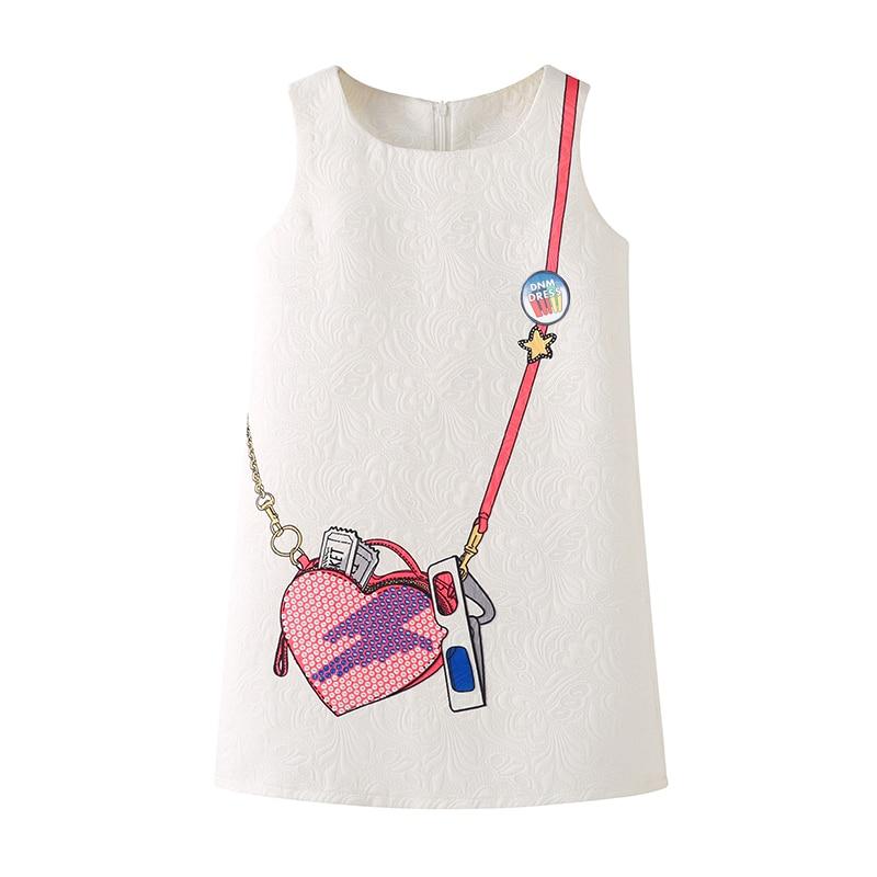DressNoMore Girls Dress Summer Children Dresses Sleeveless White Satchel Printing Girl Evening Dress Kids Ball Gowns