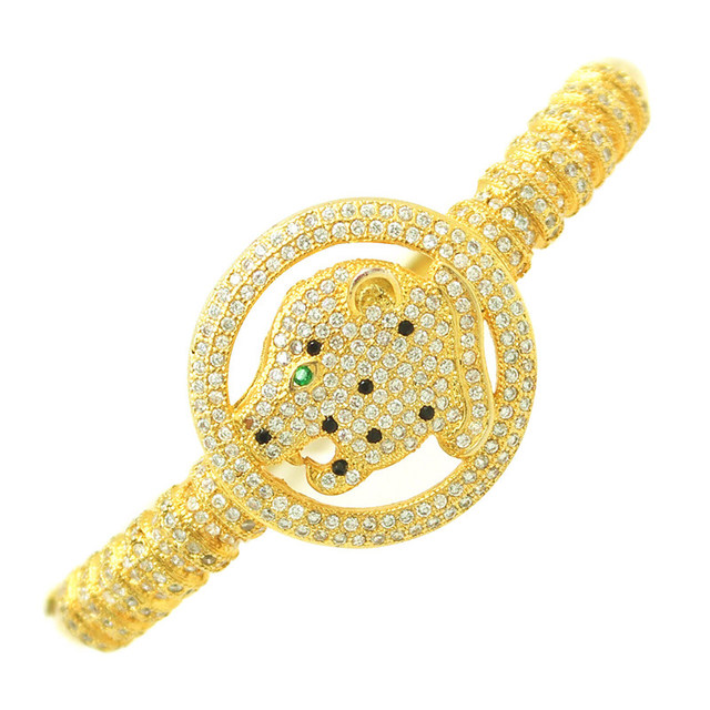 Luxury Exaggerated Leopard CZ Bangle For Queen Trendy Brand Shining Full Cubic Zirconia Women Gift Jewelry Accessories 2016
