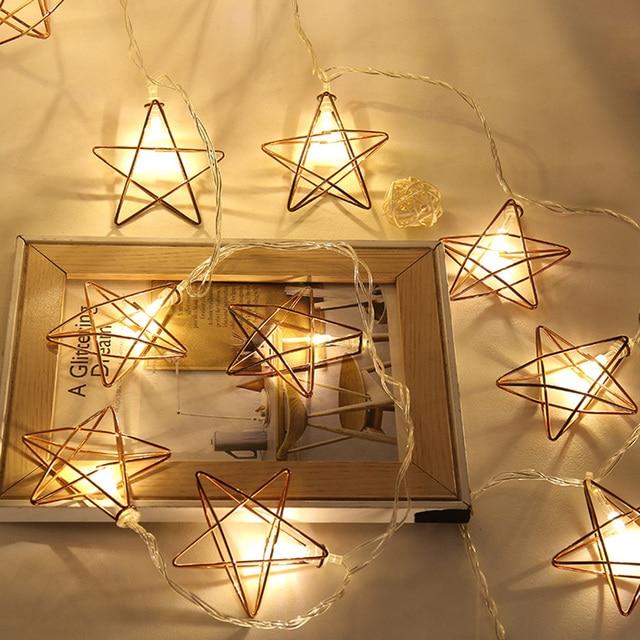 3m 20leds Retro Rose Gold Star Led String Lights Bedroom Decoration