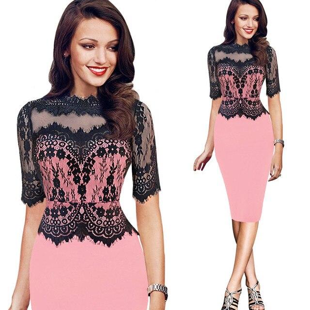 High Quality Women Fashion 2018 Plus Size Lace Office Bodycon Peplum