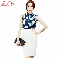 Summer Sleeveless Print Blouse Shirt White Pencil Skirt Women Two Pieces Sets Office Work Cloth Sexy