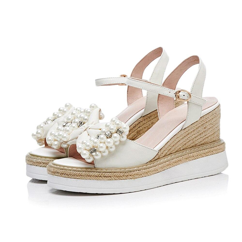 Cuñas Beige Cordón 2018 Mujer De Moda Nueva Cuero Verano Asumer Zapatos Genuino Hebilla nAw6q0q78