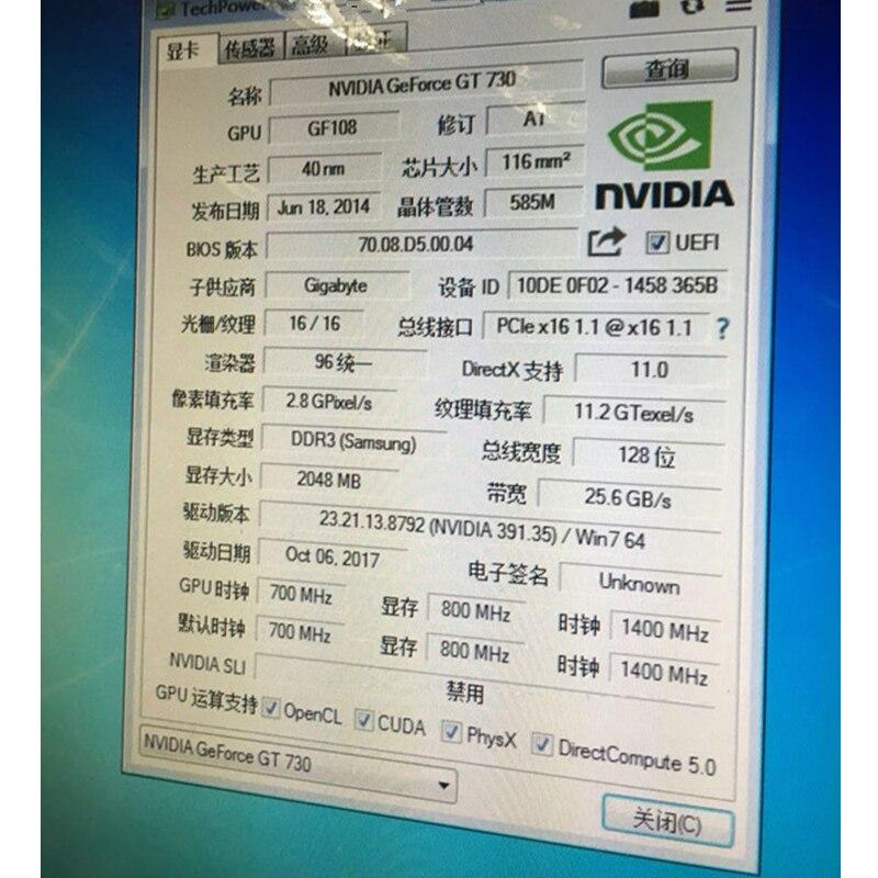 Carte graphique GIGABYTE GT 730 2 GB originale 128Bit GDDR3 GT730 cartes vidéo pour carte vidéo nVIDIA Geforce D3 HDMI Dvi VGA N730 - 6