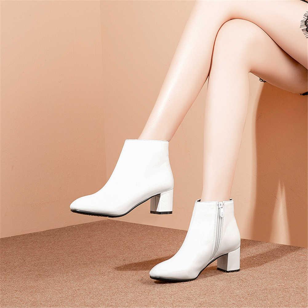 BONJOMARISA Moda Rahat Rugan Bayan Botları Yüksek Kare Topuklu yarım çizmeler Bayanlar Için Ayakkabı Kadın Artı Boyutu 32-43