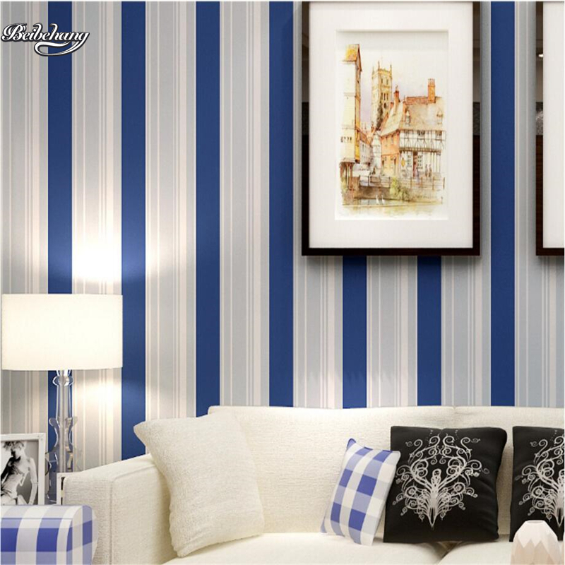 beibehang Mediterranean blue and white vertical stripes bedroom boys girl children 's room environmental high - end wallpaper beibehang wallpaper vertical stripes 3d children s room boy bedroom mediterranean style living room wallpaper