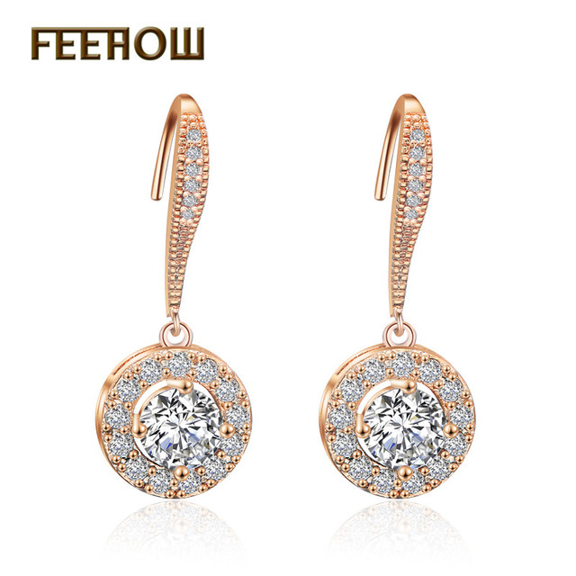 Feehow Trendy Round Shpe Cubic Zircon Earrings With Sparking Stone Drop For Women Female Wedding