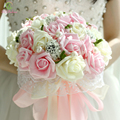 Buque De Noiva 2017 SSYFashion Romantic Bridal Bouquet Rose Flower Beautiful Lace Wedding Bouquet Props Accessories Gift Corsage