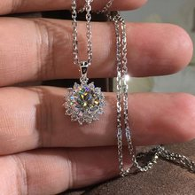 High Quality Full Crystals Flower Pendant Necklaces For Women Delicated Silver Color Cubic Zircon Party Wedding Jewelry Necklace(China)