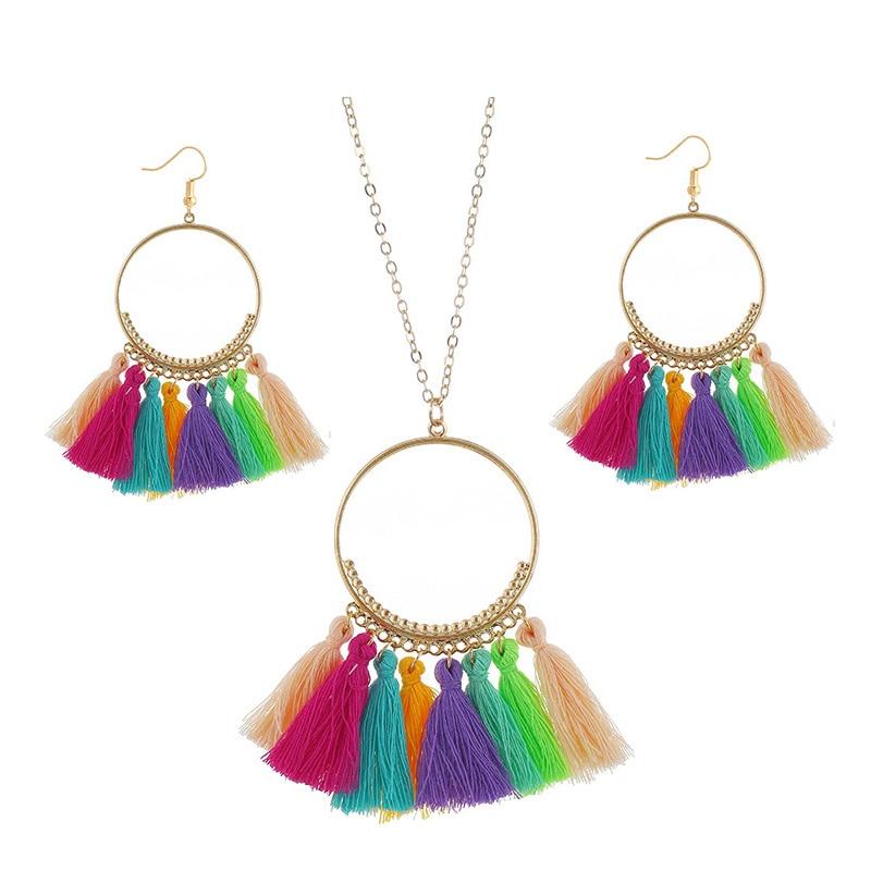 cjh030 Christmas Hoops Tassle Tassel Earrings Necklace Set Drop Fringe Necklace Set