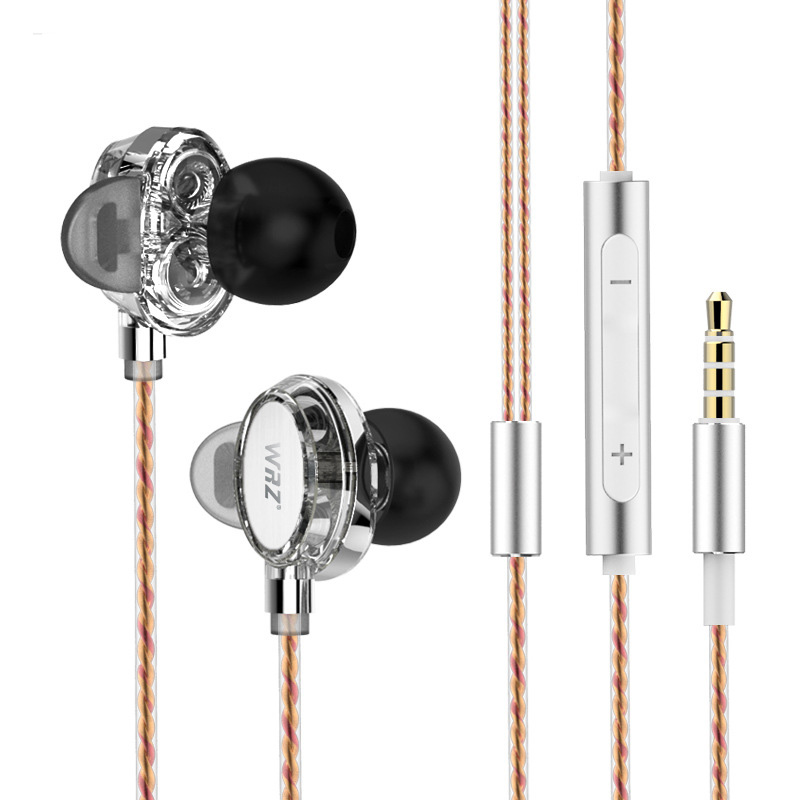 WRZ X7 Earphone In Ear Double Dynamic Hifi Earbuds Bass Music Headset 3.5mm Jack Earplug with Microphone Earphones for MP3 Phone glaupsus gj01 in ear 3 5mm super bass microphone earphones earplug stereo metal hifi in ear earbuds for iphone mobile phone