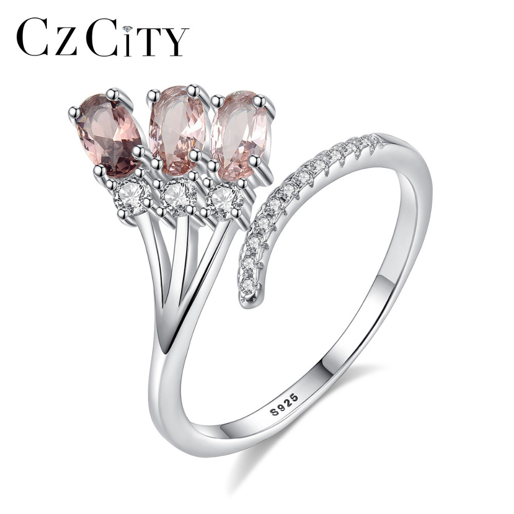 CZCITY High Quality Pure 925 Sterling Silver Adjustable Open Rings For Women Luxury Engagement & Wedding Jewelry Bijoux Gifts