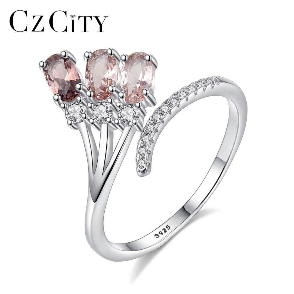 Czcity alta qualidade pure 925 prata esterlina ajustável aberto anéis para mulheres luxo noivado & casamento jóias bijoux presentes