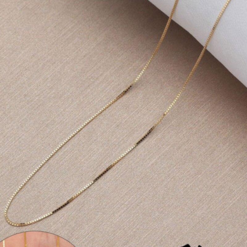ANI 18 K or blanc (AU750) chaîne collier pour femmes fiançailles trois couleurs Fine boîte chaîne pour pendentif 16 pouces ou 18 pouces