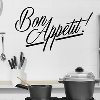 Hot Sale Bon Appetit French Kitchen Wall Stickers Art Vinyl Removable Home Decor New Design