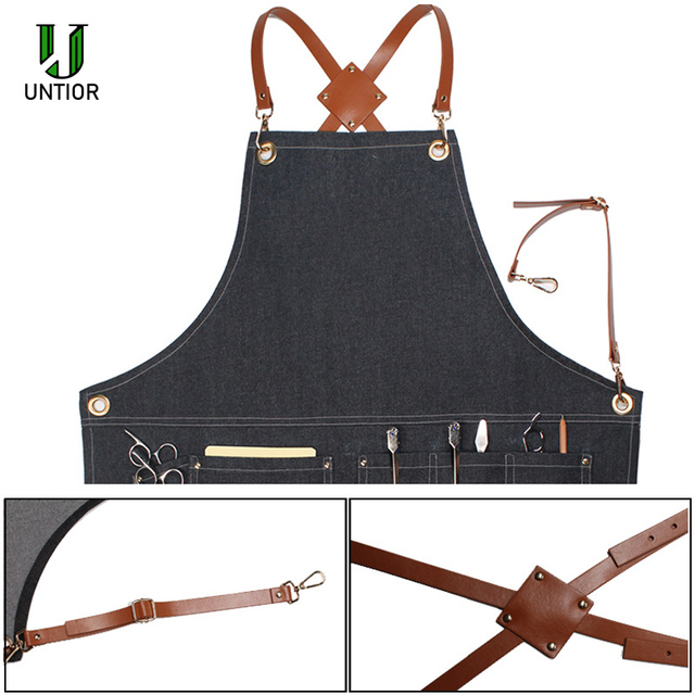 UNTIOR Denim Apron Fashion Cooking Kitchen Chef Waiter Cafe Shop BBQ Hairdresser Removable Denim Tools  Apron For Woman Men 1