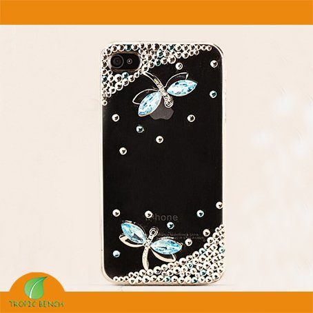 0fc6635aac3 DESIGNER PHONE CASE- Bling Rhinestone Dragonfly Crystal Mobile Phone Cover  Case For iPhone 4 4S