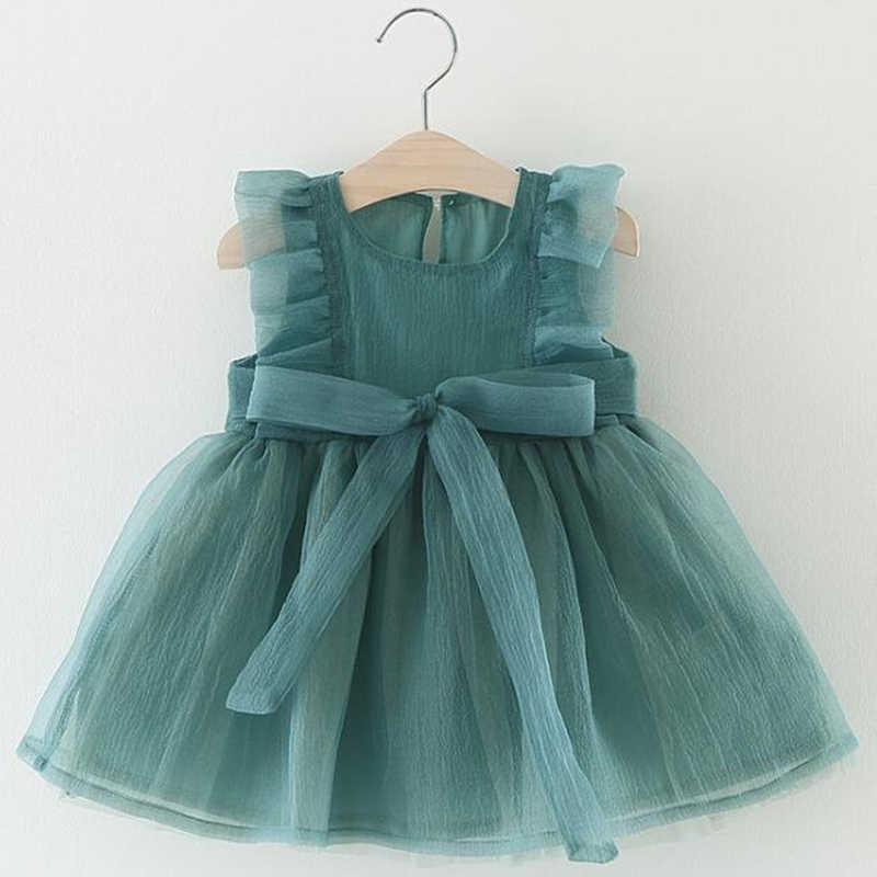 子供ドレスベビーガールのメッシュドレス夏ベビーパフィープリンセスドレス無地 2019 女の赤ちゃんの洋服 1-3Y 着用