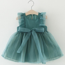Childrens Dress Baby Girl Mesh Summer Puffy Princess Solid Color 2019 Clothes For 1-3Y Wear