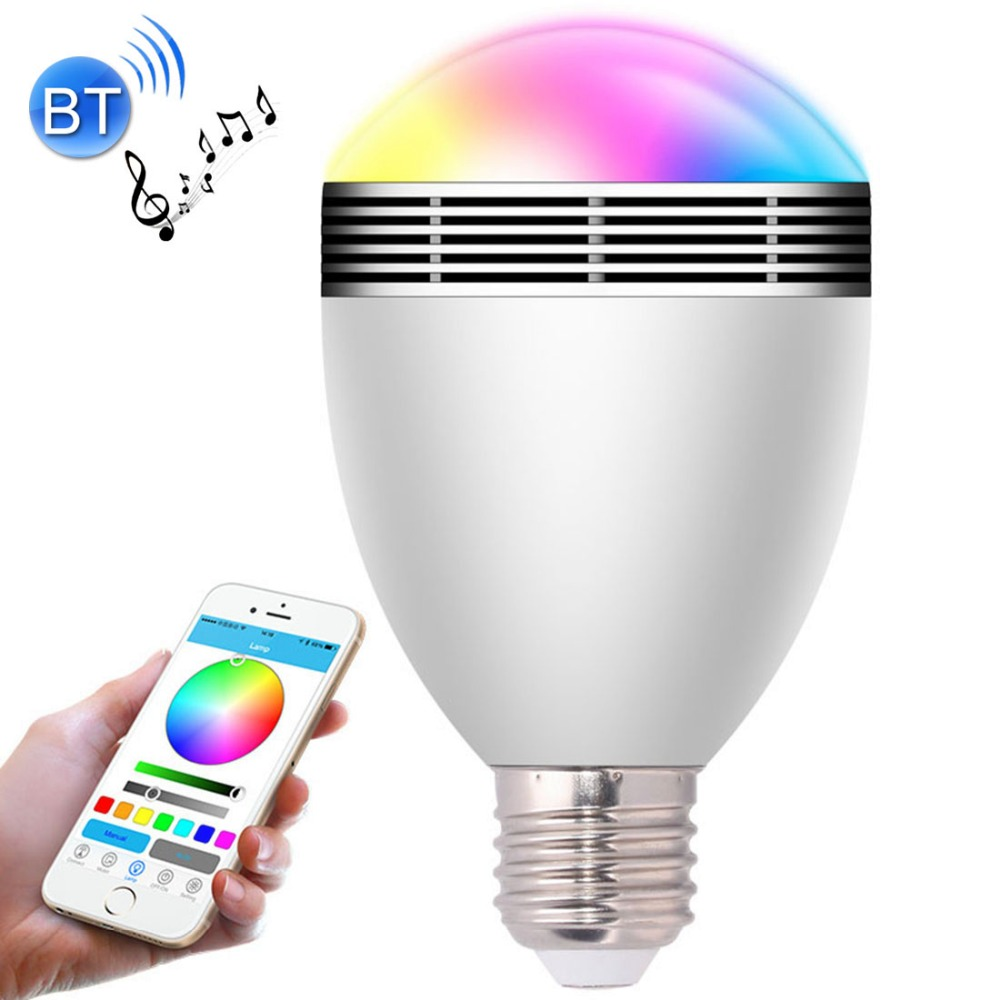 LED Bluetooth Speaker Bulb RGB Colorful Dimmable Smart Light Lighting Music Player Light With APP Remote Control LED Bulbs lightme smart e27 light bulb intelligent colorful led lamp bluetooth 3 0 speaker for home stage energy saving led light bulbs