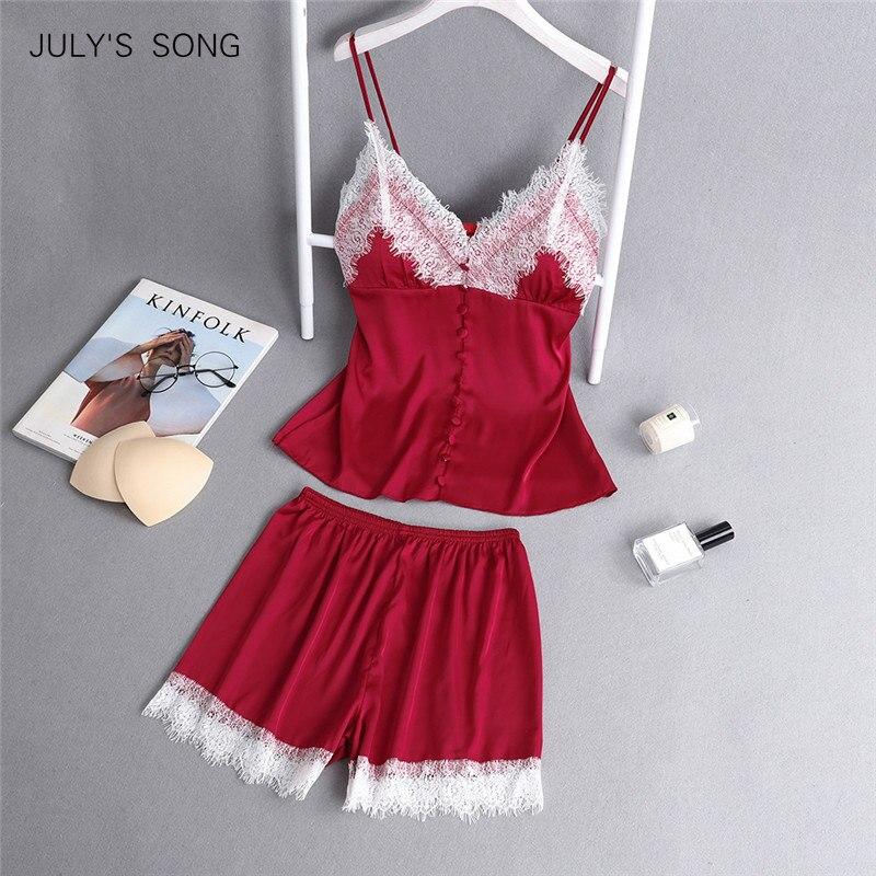 JULY'S SONG New Women Lace Sleeveless Sling and Shorts Women's Sleepwear Sexy Satin   Pajama     Set   Spring Summer   Pajama