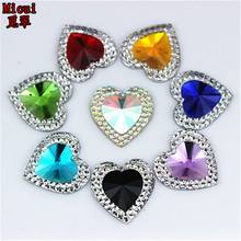 Micui 50 шт. 16 мм двойной цвет сердце Смола Украшенные стразами плоской задней камень для Свадебные украшения предметы для скрапбукинга ZZ472
