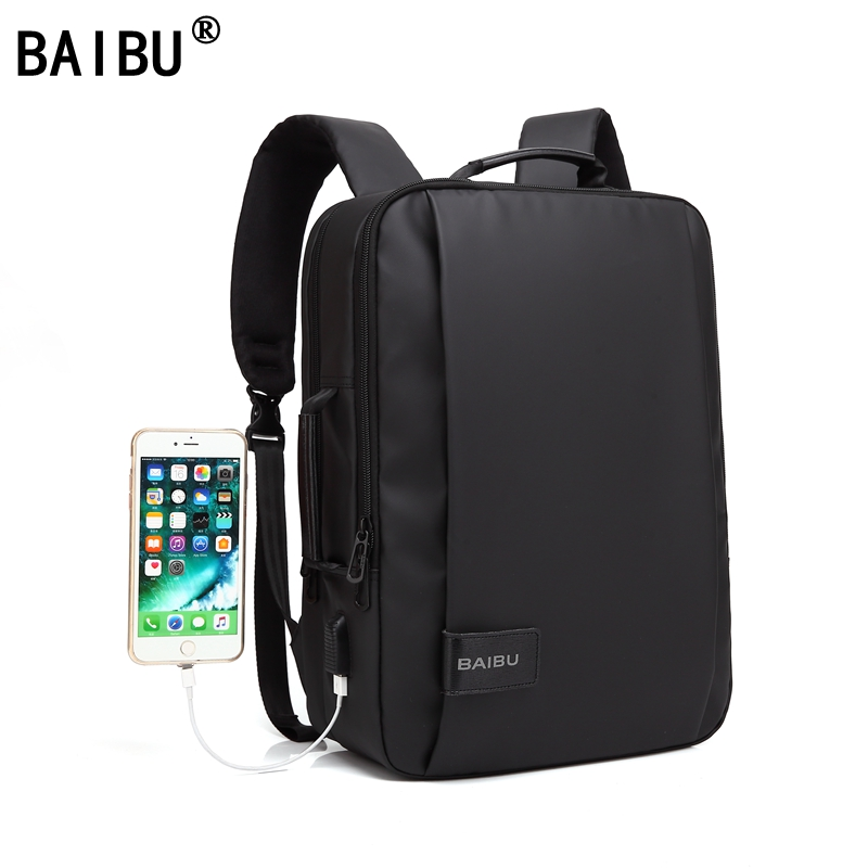 BAIBU Men Backpack Waterproof Letters Big USB Charging School Bags For Teenagers Student Travel 15.6 Inches Laptop Backpack Men new gravity falls backpack casual backpacks teenagers school bag men women s student school bags travel shoulder bag laptop bags