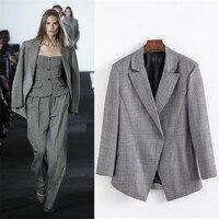 Hodisytian Fashion Blazer For Women Casual Plaid Style Suits Check Jacket Coat Outerwear Blaser Long Sleeve Thin coat Female