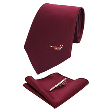 Mens tie fashion 8cm silk pocket square handkerchief brooch set manual logo multicolor jacquard business dress party
