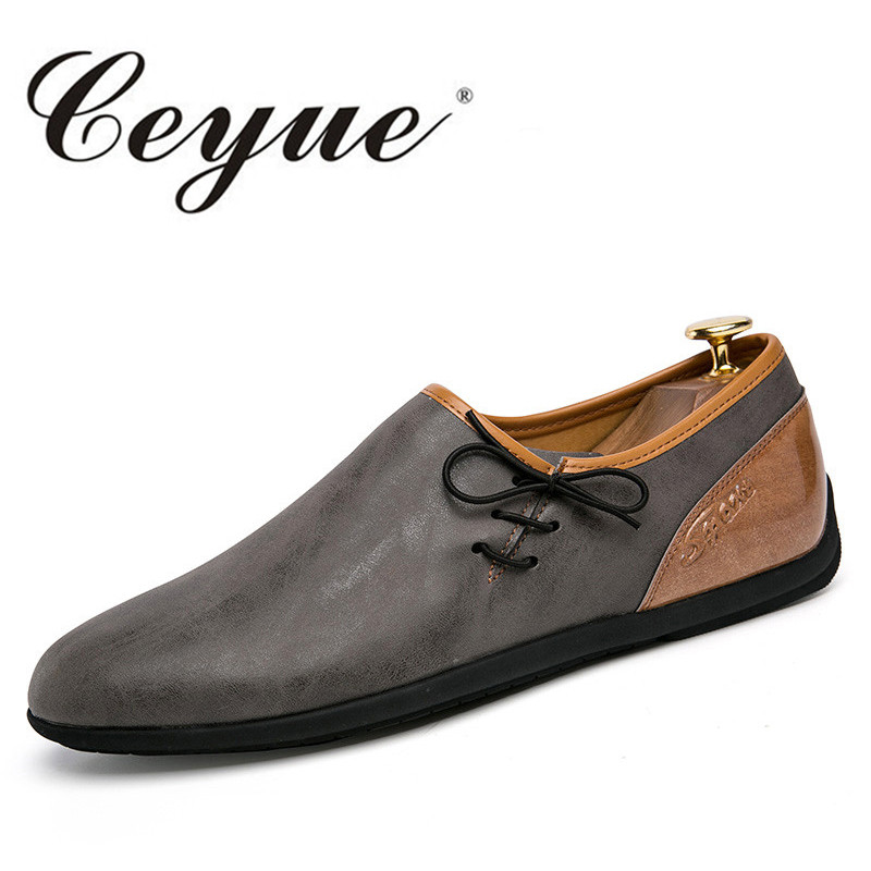 Ceyue New Leather Casual Shoes Men Fashion British Style Loafers Men Low Heel Flats Men Driving Slip On Shoes Zapatillas Homme  men leather boat shoes vintage lace up casual driving shoes man fashion flats chaussure homme large size 46 loafers zapatillas