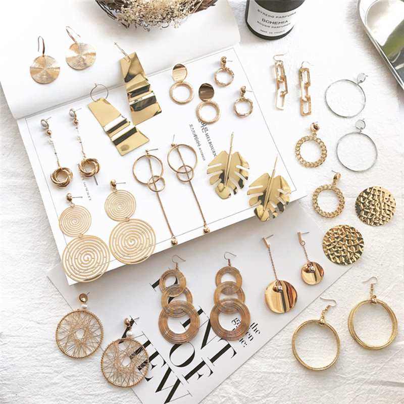 New Vintage Exaggerate Big Circle Dangle Earrings Matte Gold Drop Earrings For Women Long Earring Party Jewelry Brinco X7-M2 gold earrings for women