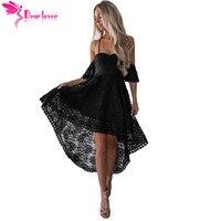 Dear Lover Spaghetti Strap Dress Sexy Lace Black Backless Off Shoulder High Low Party Cami Dress Vestido de Festa Longo LC610272