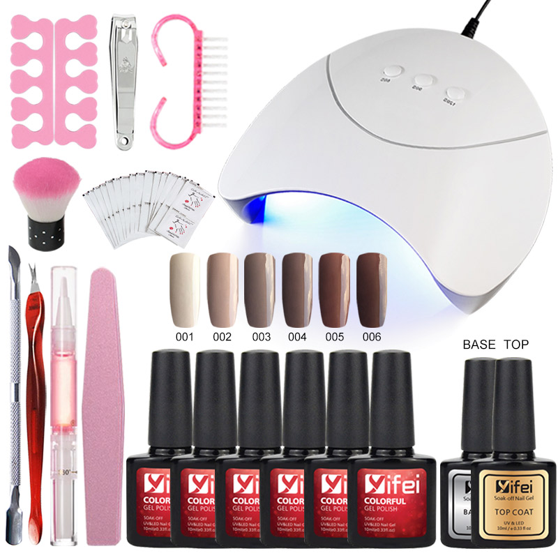 YIFEI Gel Lacquer Kit Nail Gel Set For Manicure Gel Nail Polish French Tips UV Gel 36W Nail Dryer Top Base For Nail Design 10ML