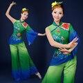 Clásico de las mujeres de degradado verde del ventilador tradicional traje de la danza trajes de baile vestido de trajes de baile trajes de danza folclórica china