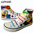 JUP New High Quality Men Mans Boy Girls Cartoon Despicable Me Minion Hand Painted Canvas Lazy flat Shoes Graffiti Gift Footwear