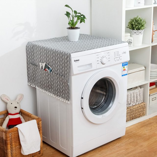 Geometric Refrigerator Cloth Single Door Refrigerator Dust Cover Pastoral Double Open Towel Washing Machine Cover Towel 1pcs