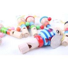 1 шт. деревянный случайный цвет игрушки мультфильм свисток для животных развивающий музыкальный инструмент, игрушка для детей