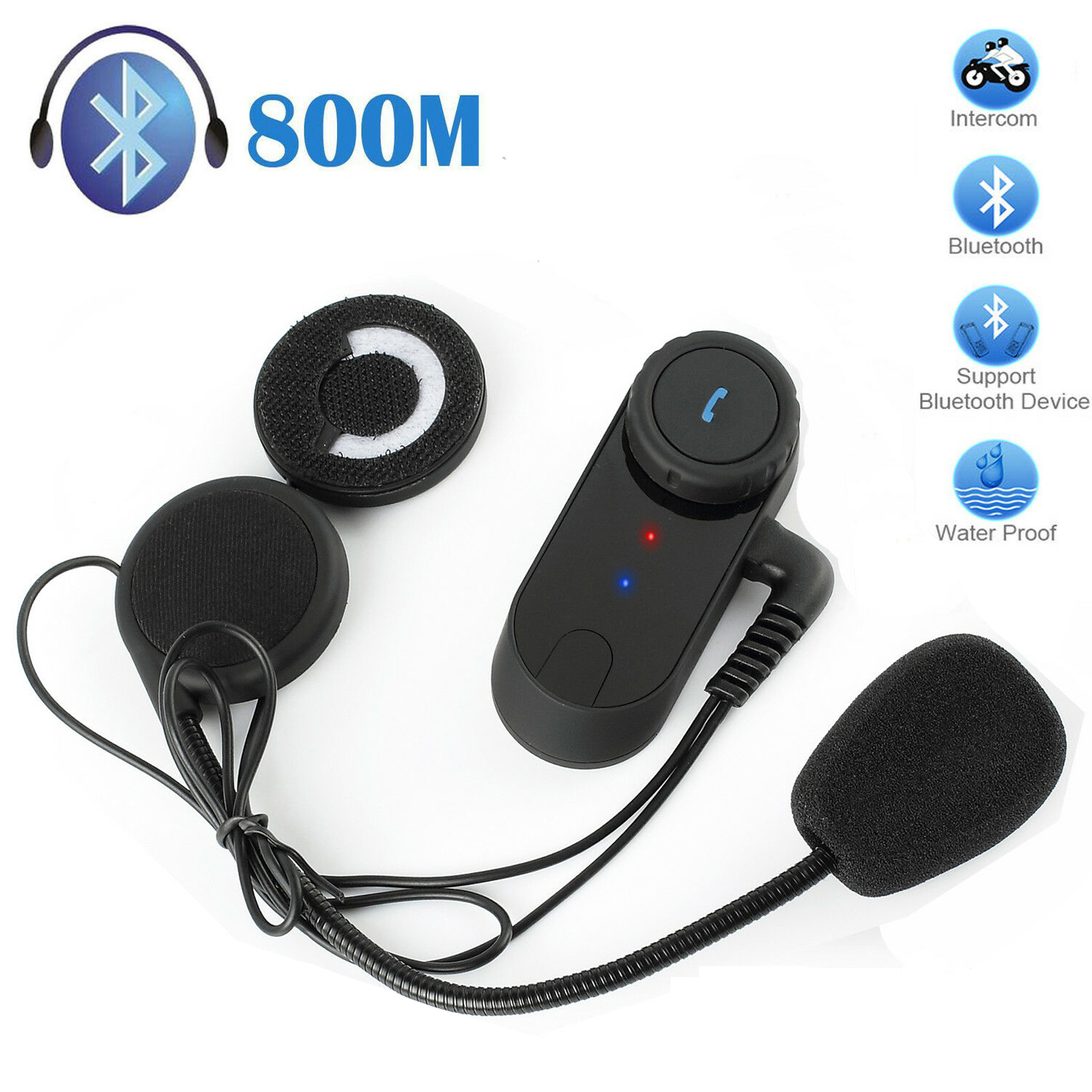 800M Motor Wireless Bluetooth Headset Motorcycle Helmet Earphone Headphone Speaker Handsfree Music For MP3 MP4 Smartphone-in Helmet Headsets from Automobiles & Motorcycles    1