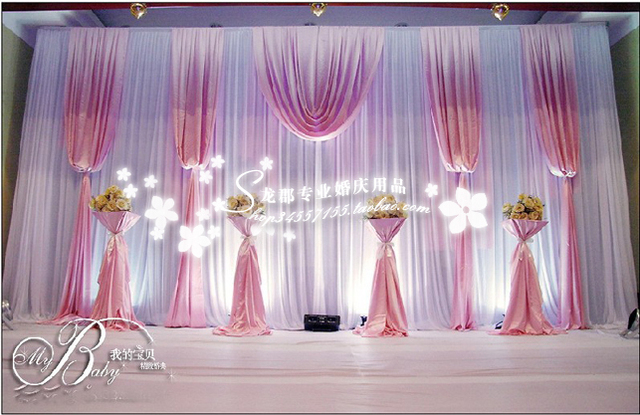 10ft High X 20ft Wedding Backdrop Drape Curtain Pink And White