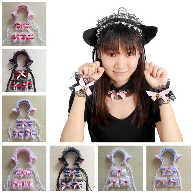 Anime Lace Cat Ears Headband with Bell Neck Ring Wristband Maid Lace Bell Headbands Hair Hoop Hair Accessories for Women Girl