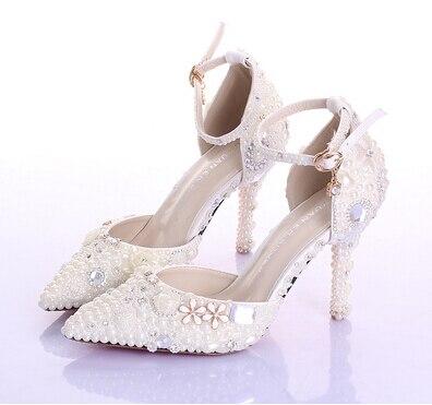 Esthétique chaussures pour femmes plate-forme de mariée chaussures de mariage unique ivoire perle strass chaussures de mariage 14 cm à talons hauts - 4