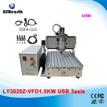 USB CNC Machine ly 3020Z-VFD 1500w water cooling CNC Engraving Machine for metal , wood