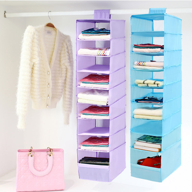 Oxford Magic Stickers Hanging Organizer Wardrobe For Clothes Blanket Underwear Clothing Accessories Box Storage Bag Socks