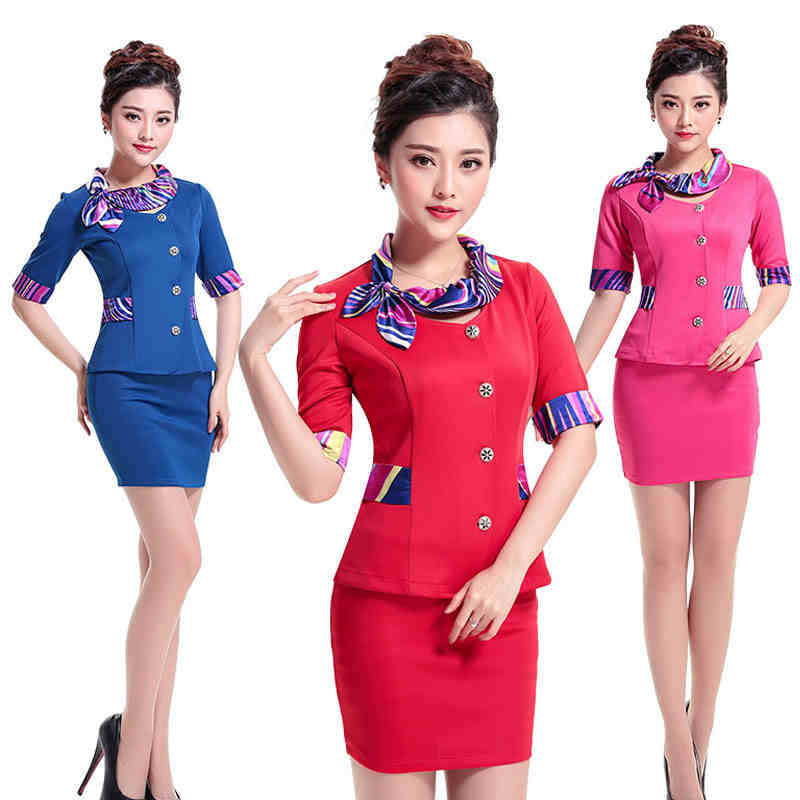 New pink blue red skirt unifrom for women slim formal work for Spa uniform policy