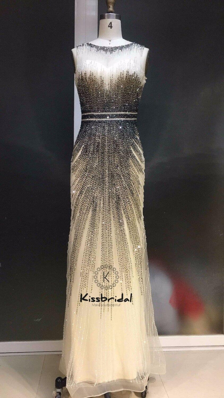 vestidos de festa Newest Long   Evening     Dresses   2019 Sleeveless Full Beading Tulle Prom Gown