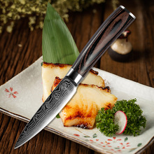 Liang Da 7Cr17Mov steel 3.5inch Fruit knife Kitchen Utility Knife beautiful pattern Very Sharp life tools color wood handle gift
