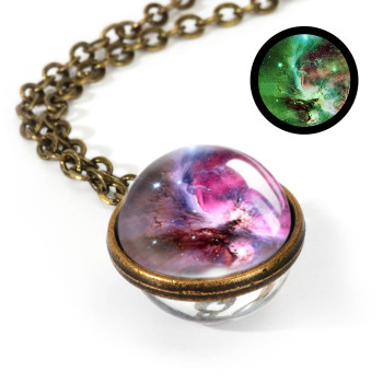 Galaxy Double Sided Pendant Necklace Jewelry Necklaces Women Jewelry Metal Color: LGS0033-Luminous