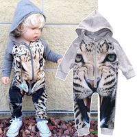 Tiger Print Baby Boy Girl Clothes Bodysuit Romper Jumpsuit Playsuit Newborn Toddler Outfits Newest 2017christmas Gift
